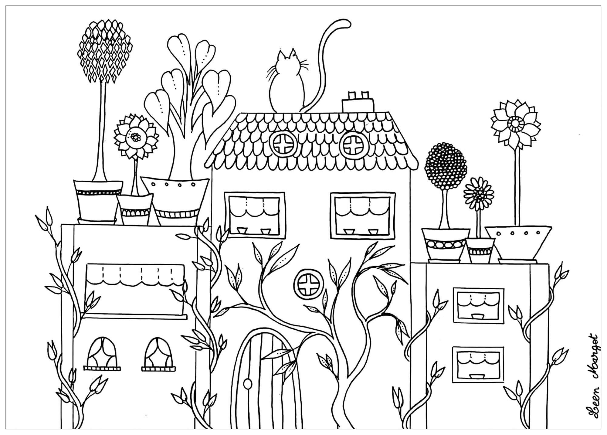 Malbuch Fur Erwachsene : Architektur U0026 Zuhause   1