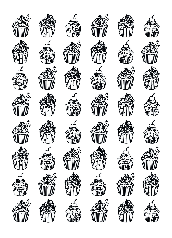 Malbuch Fur Erwachsene : Cupcakes - 21