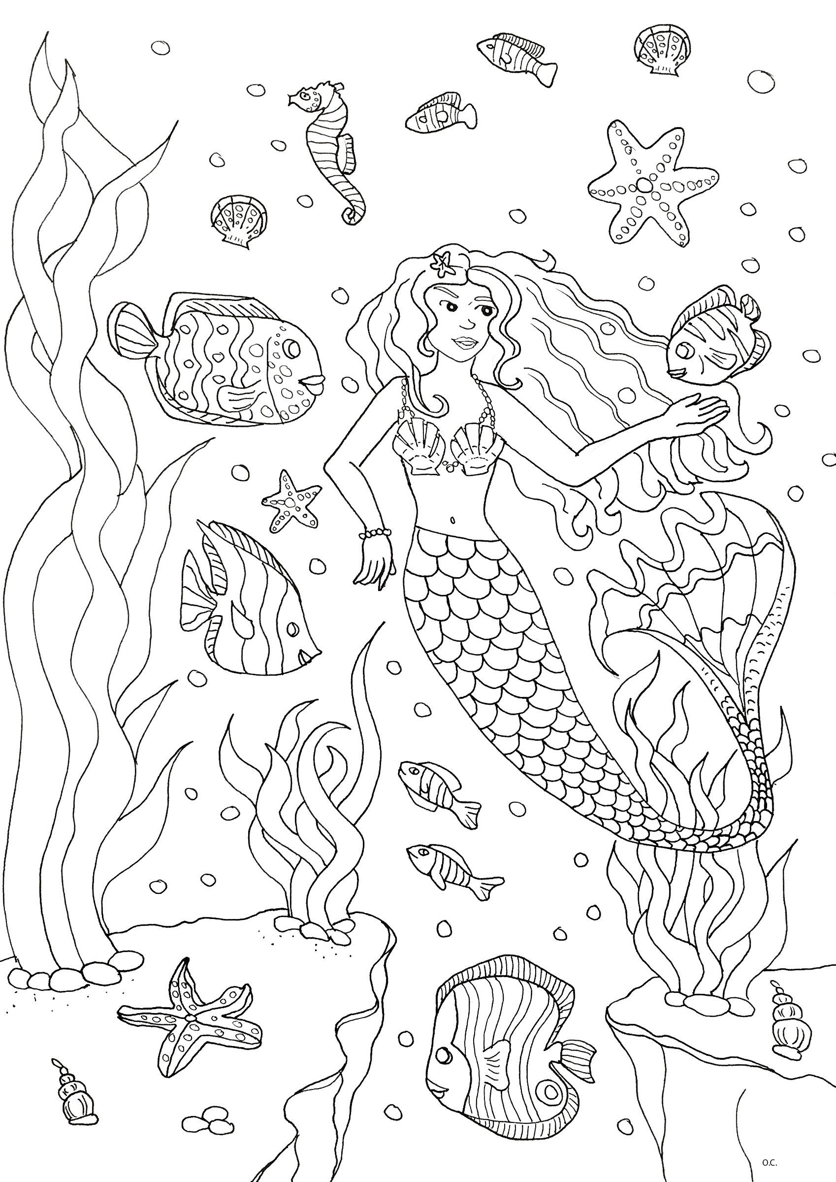 Malbuch Fur Erwachsene : Meerjungfrauen - 6
