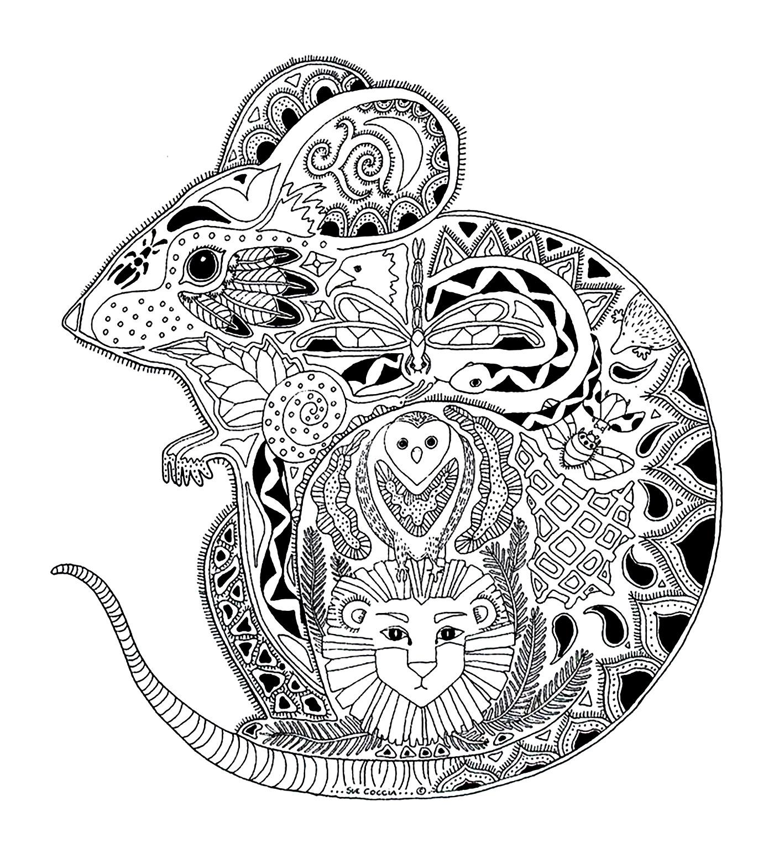 Malbuch Fur Erwachsene : Mäuse - 1