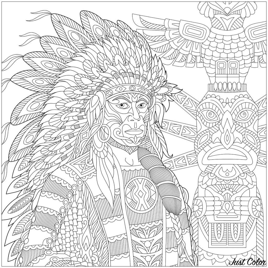 Malbuch Fur Erwachsene : Inder von Amerika - 1