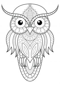retro owl coloring pages | Eulen - Malbuch Fur Erwachsene