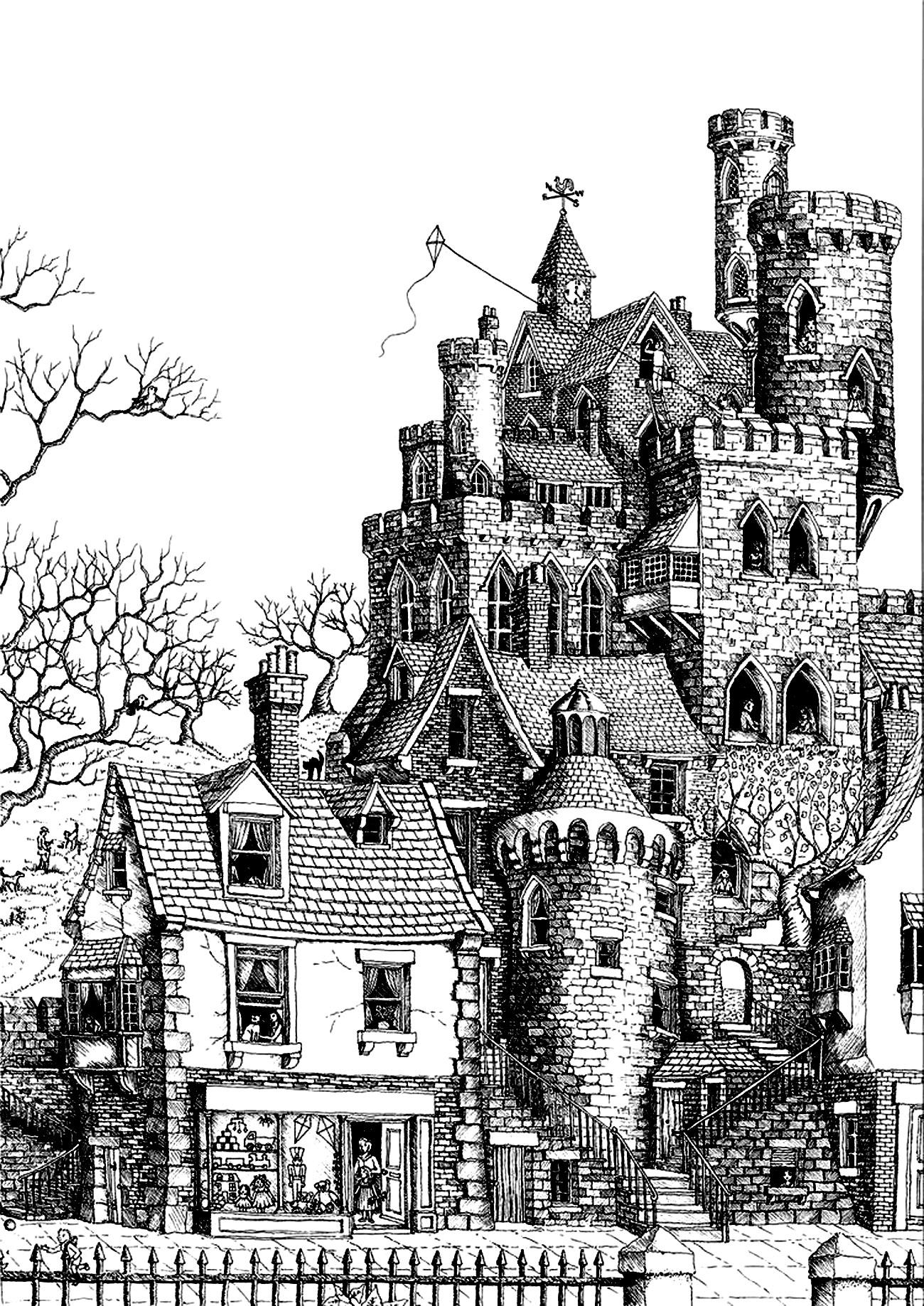 Colorear para adultos : Architecture & home - 20