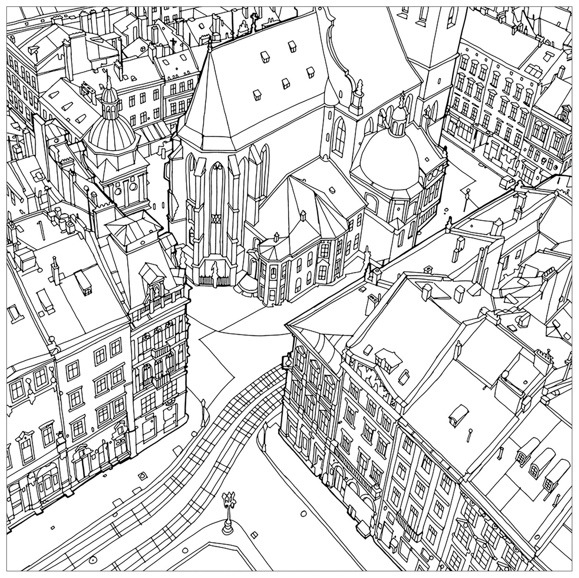 Colorear para Adultos : Architecture & home - 3