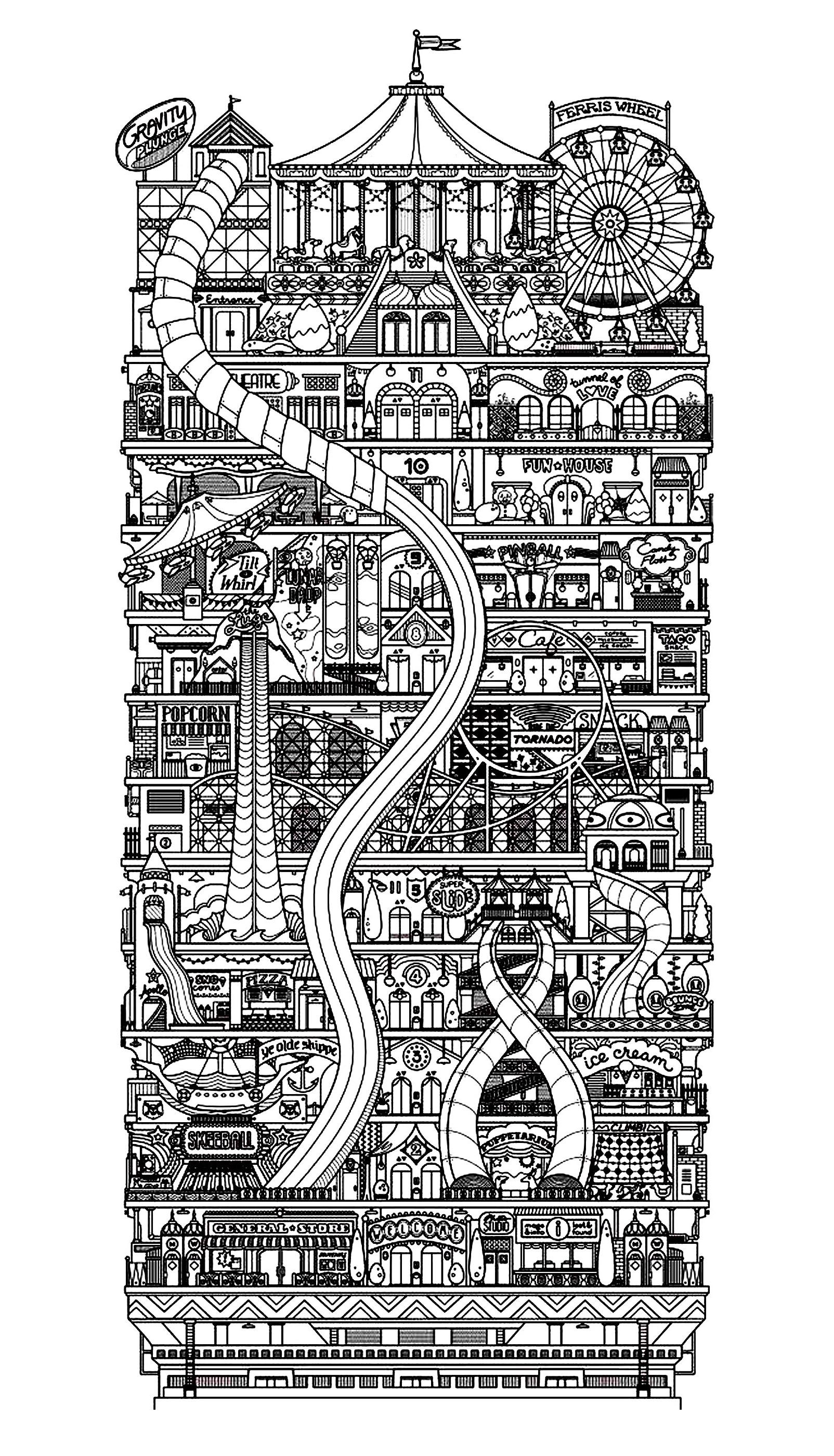 Colorear para adultos : Architecture & home - 1