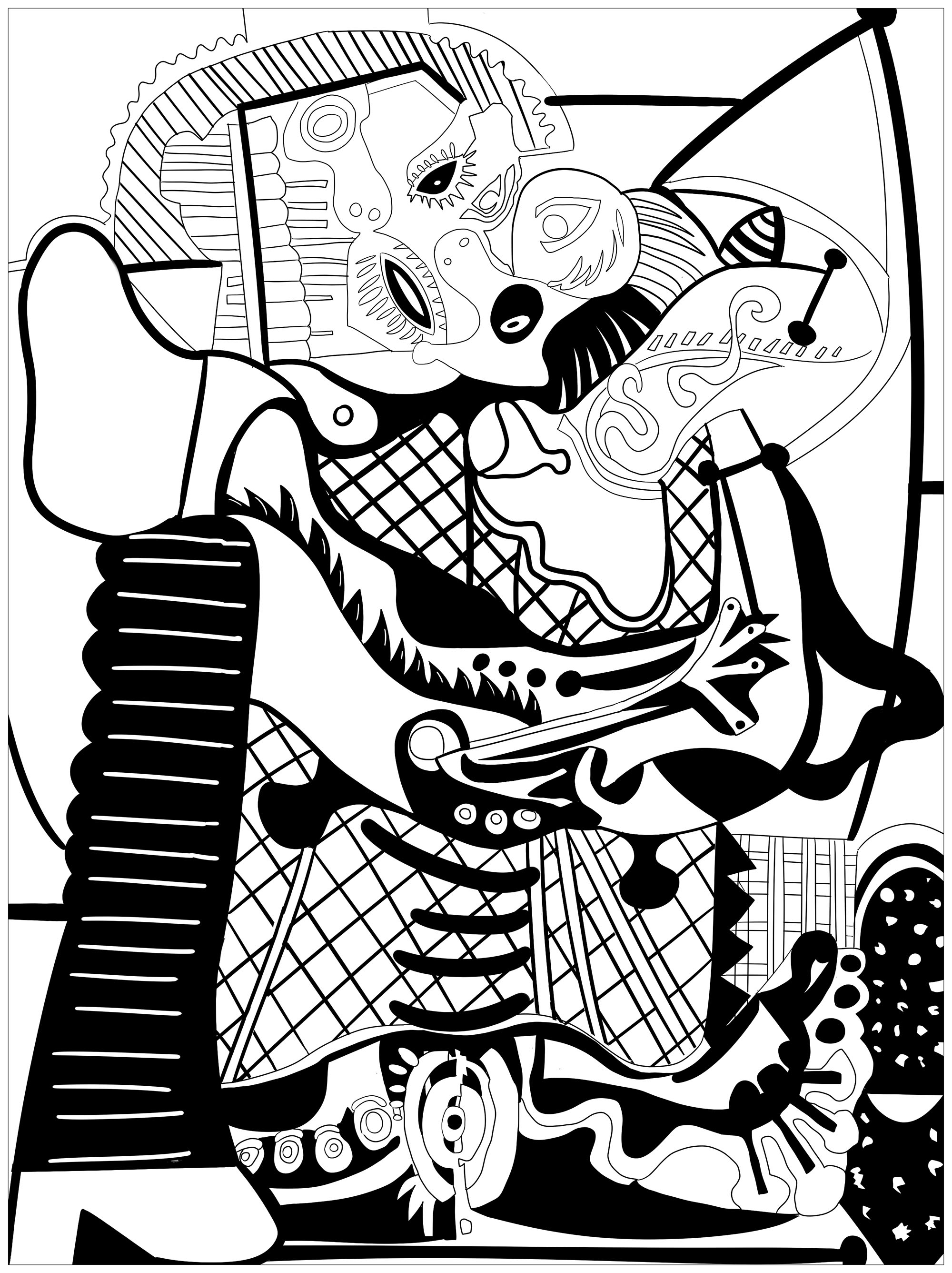 Colorear para adultos  : Obra de arte - 93