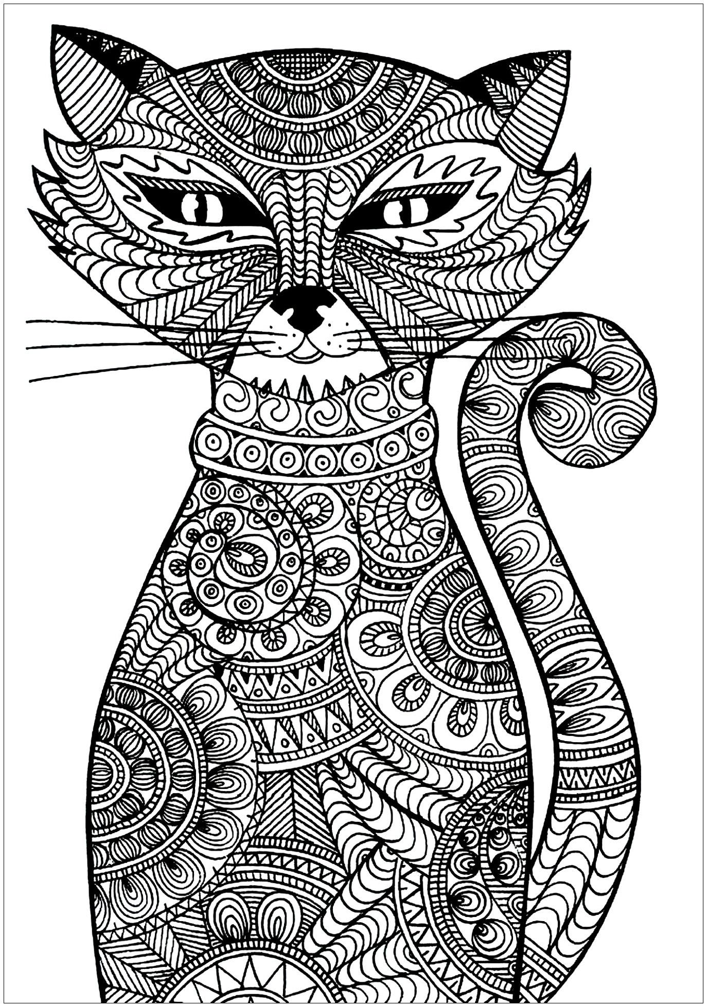 Colorear para adultos  : Gatos - 5