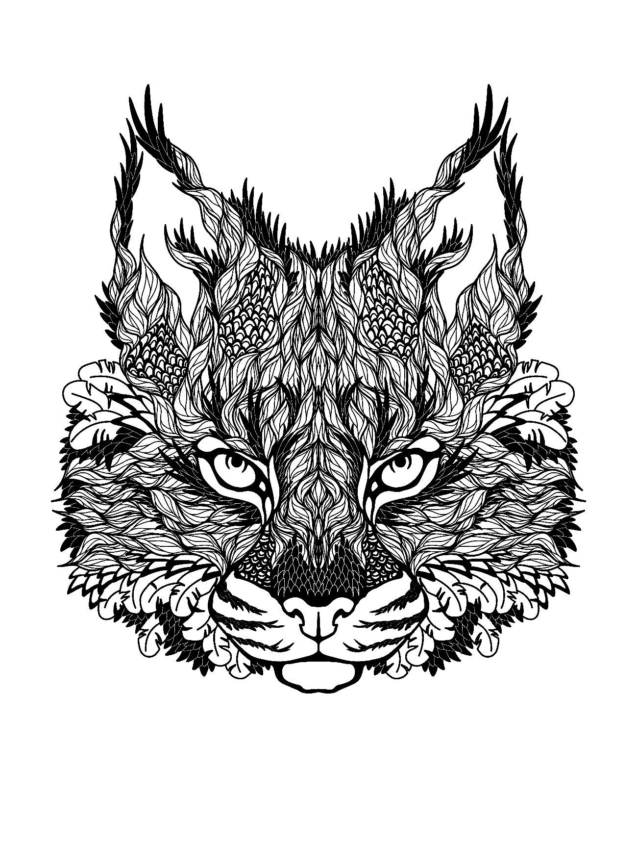 Colorear para adultos  : Gatos - 15