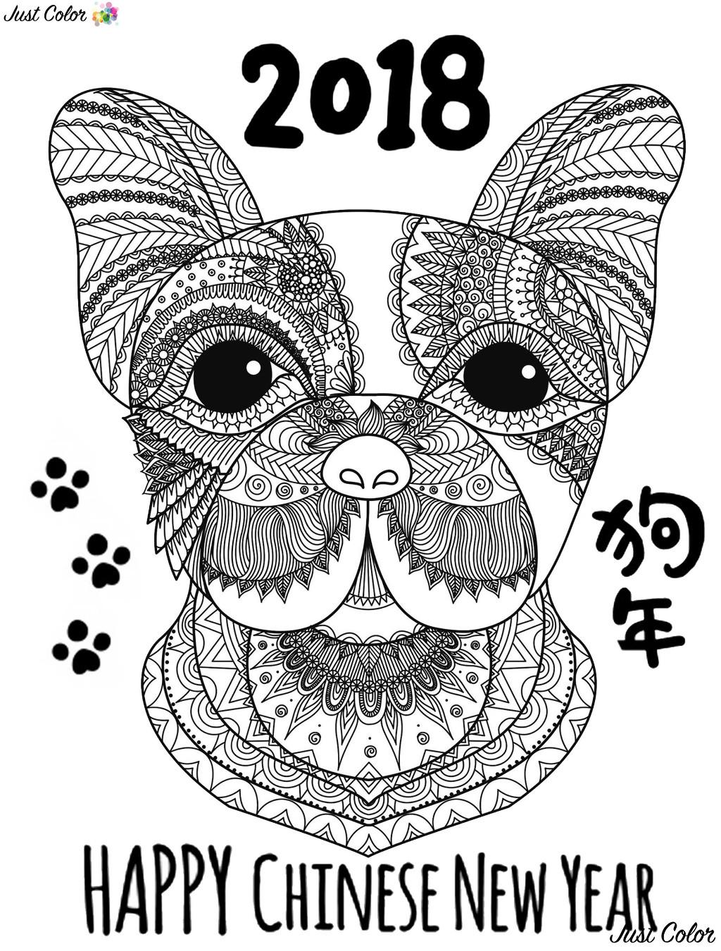 Colorear para adultos  : Año Nuevo Chino - 1