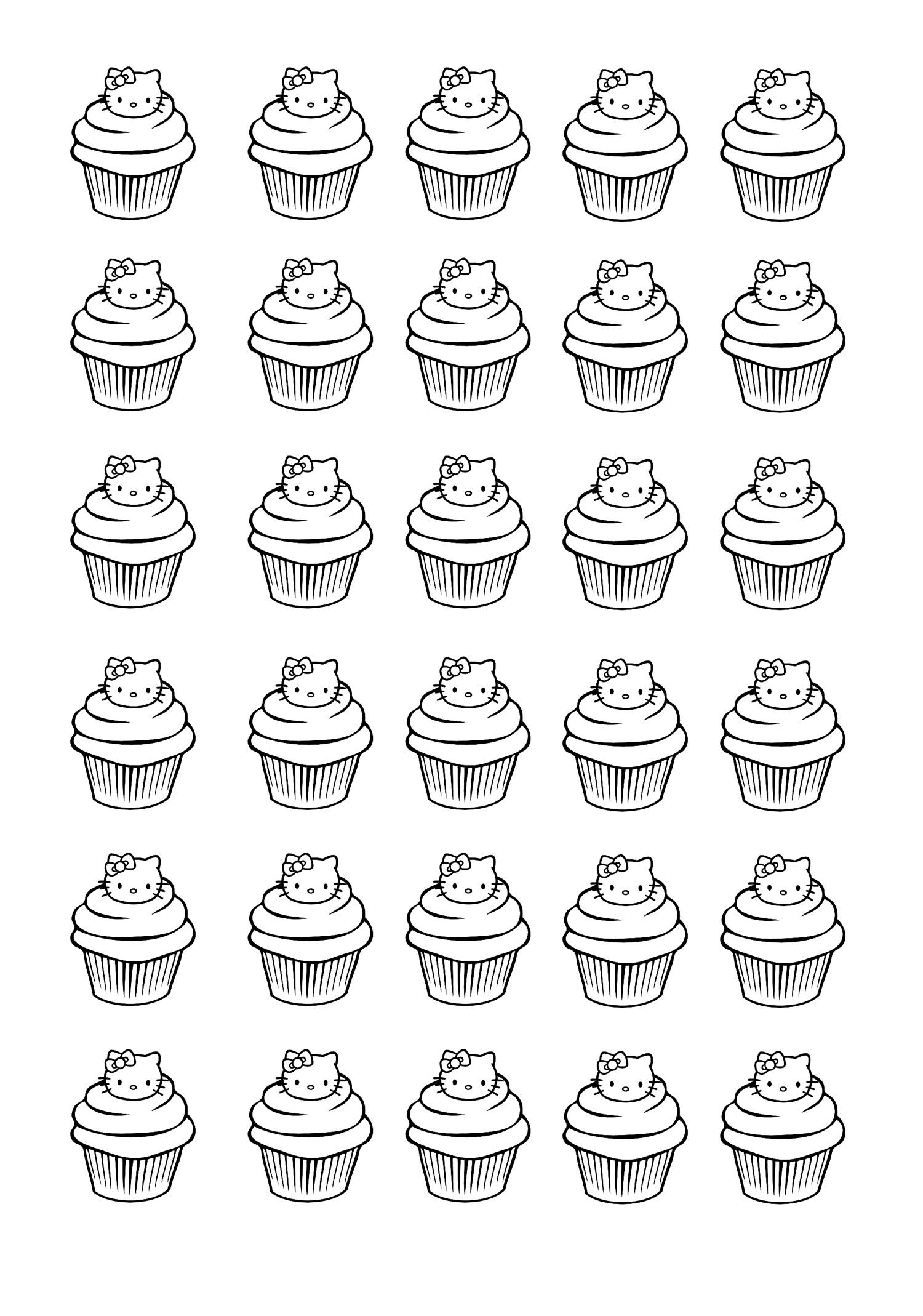 Colorear para adultos  : Cupcakes - 8