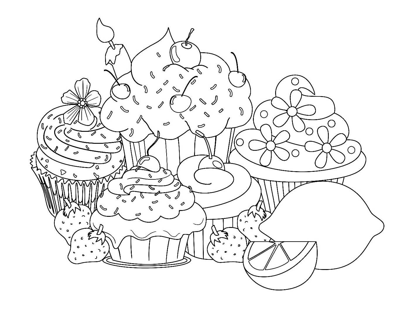 Colorear para adultos  : Cupcakes - 13