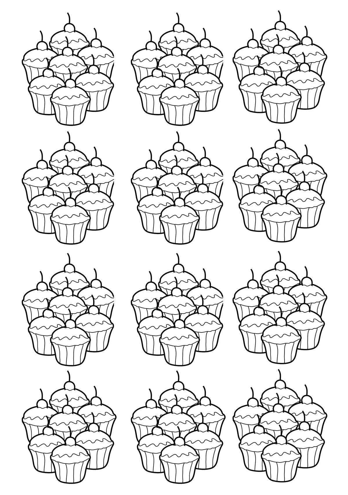 Colorear para adultos  : Cupcakes - 1
