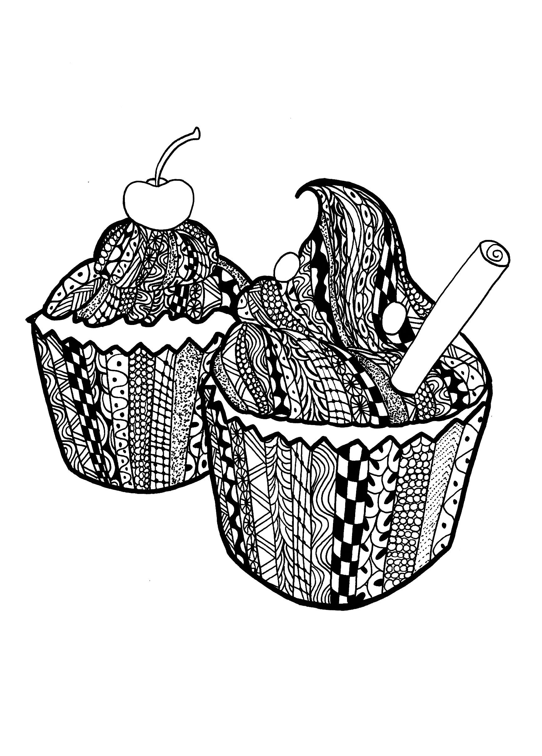 Colorear para adultos  : Cupcakes - 19