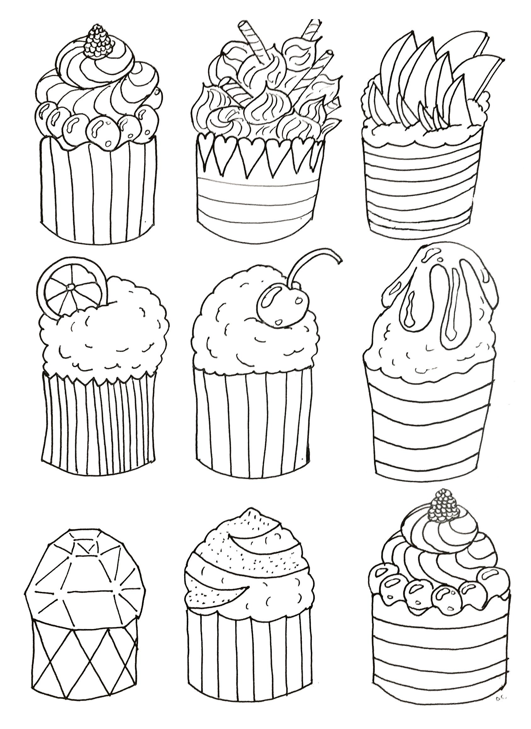 Colorear para adultos  : Cupcakes - 18
