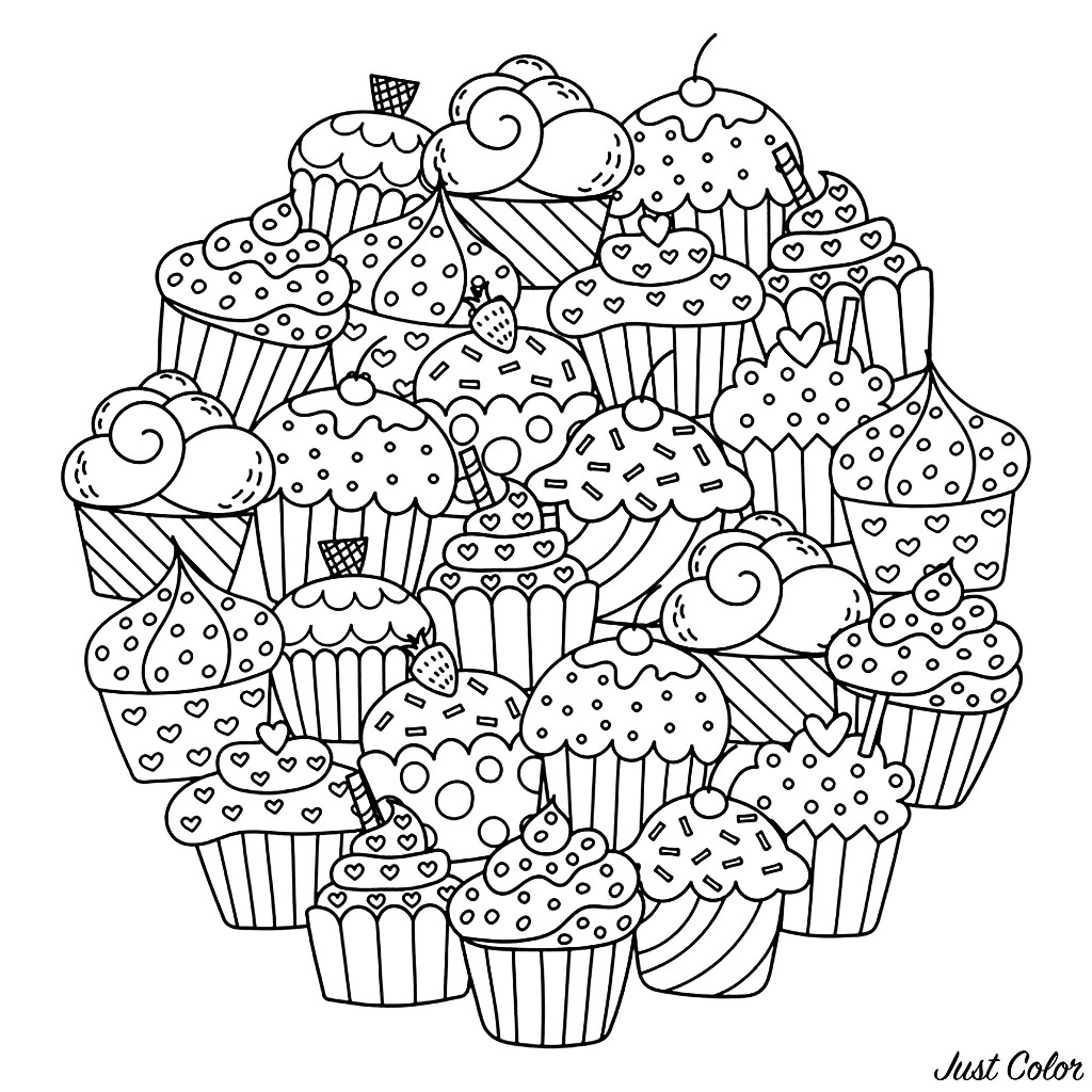 Colorear para Adultos : Cup Cakes - 14