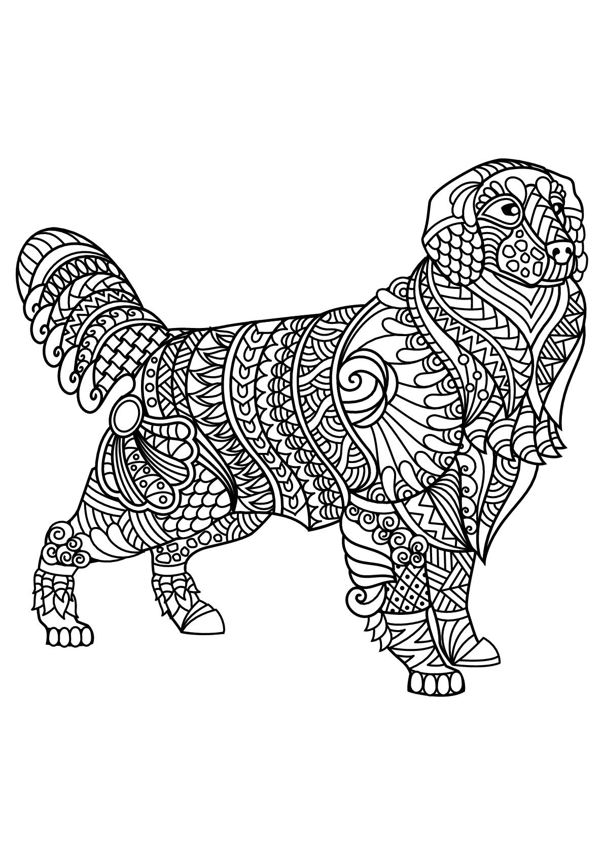 Perros 39066 - Perros - Colorear para Adultos