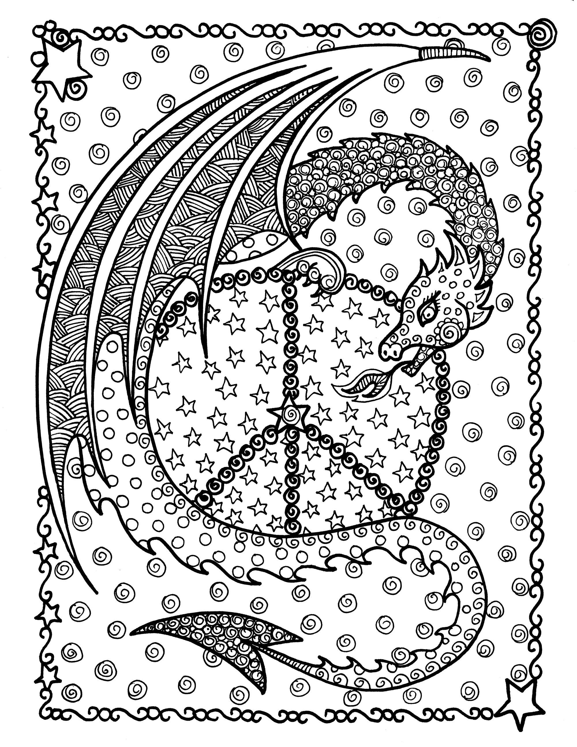 Colorear para adultos : Dragones - 6