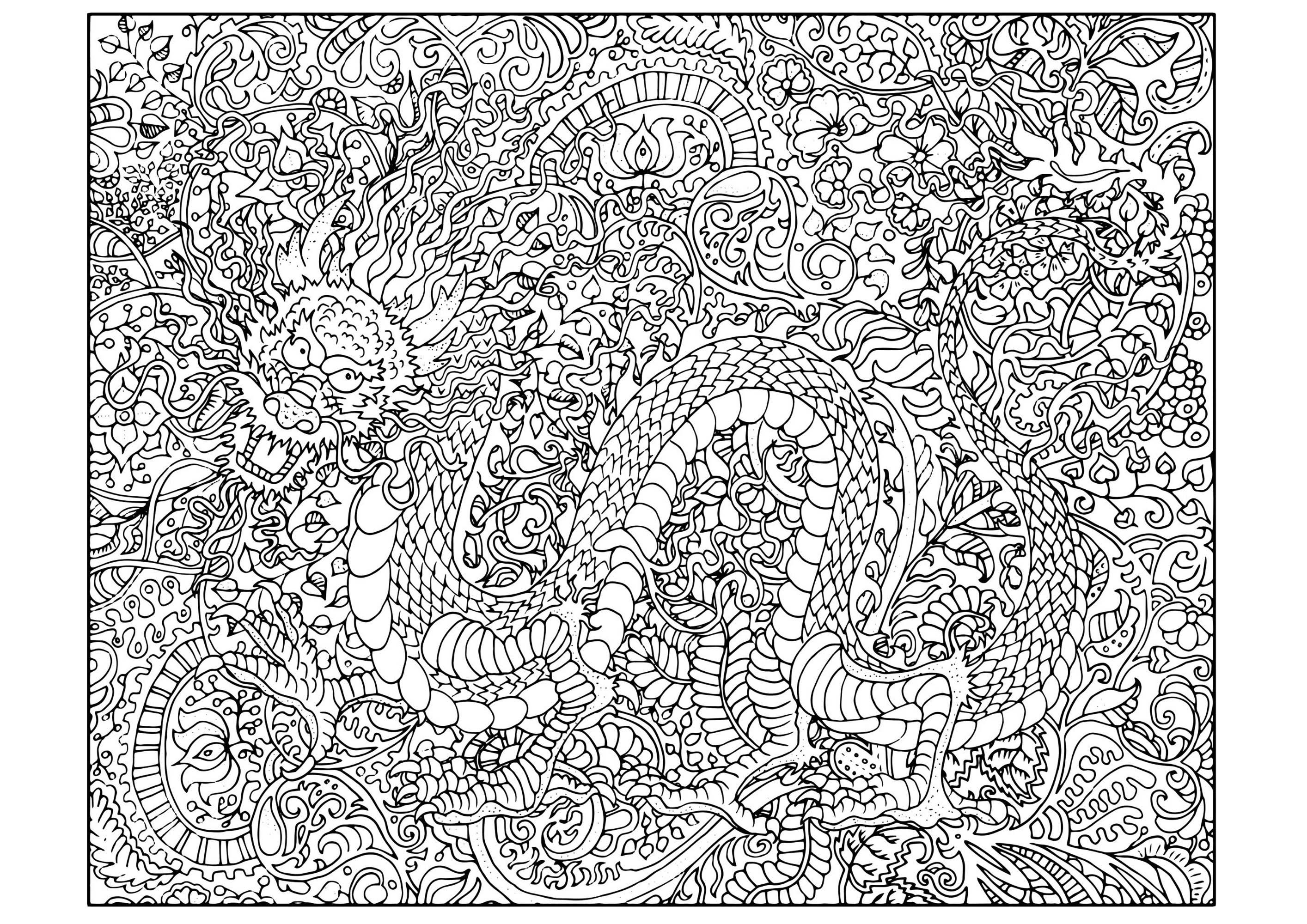 Colorear Dragones Para Dragones Para Colorear: Colorear Para Adultos