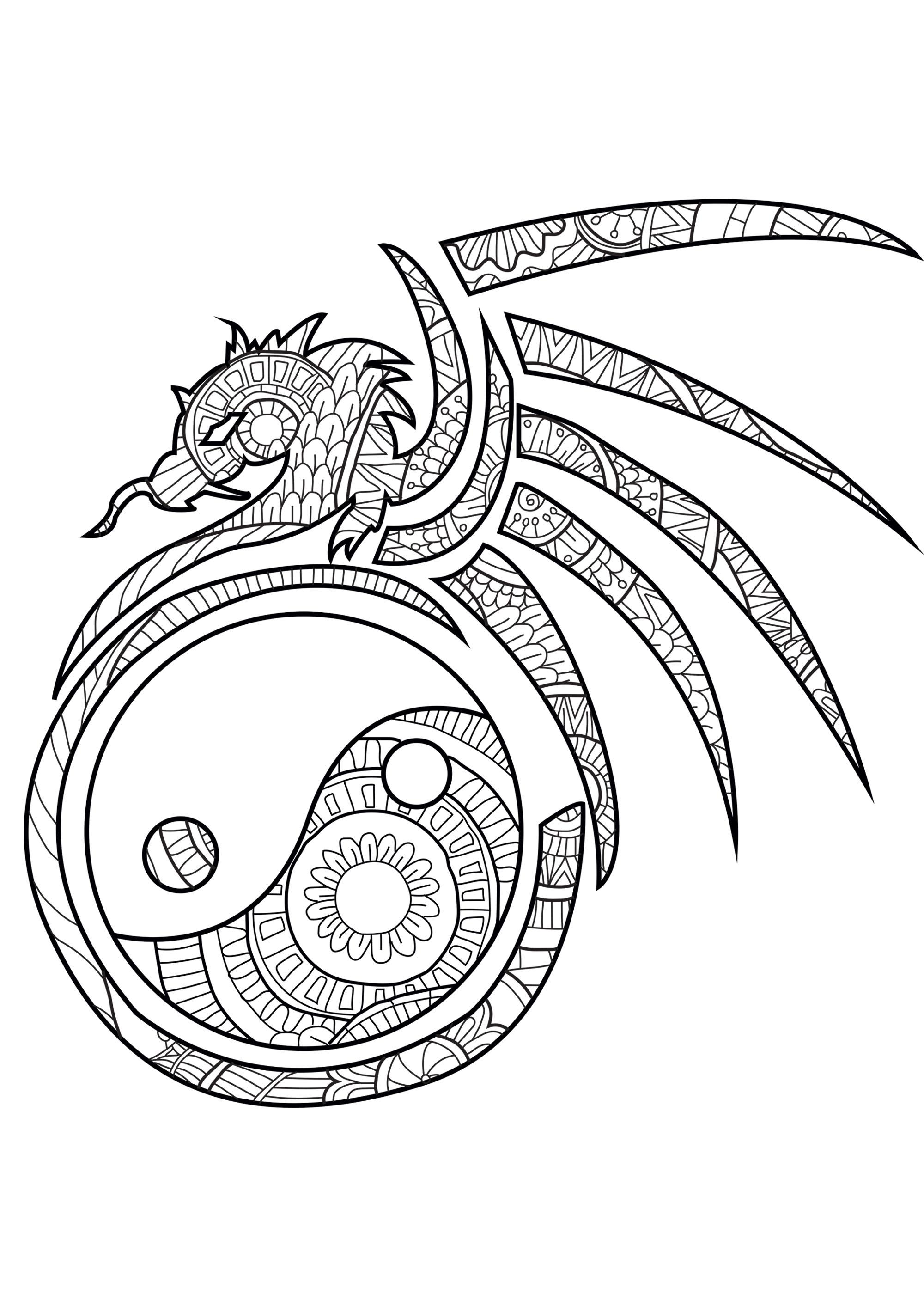 Colorear para Adultos : Dragones - 1
