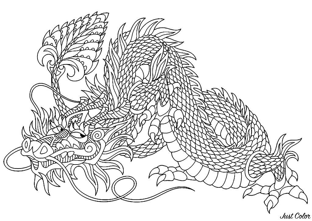 Dragones Feroces Para Colorear: Colorear Para Adultos