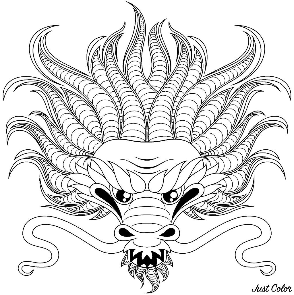 Colorear para adultos  : Dragones - 3