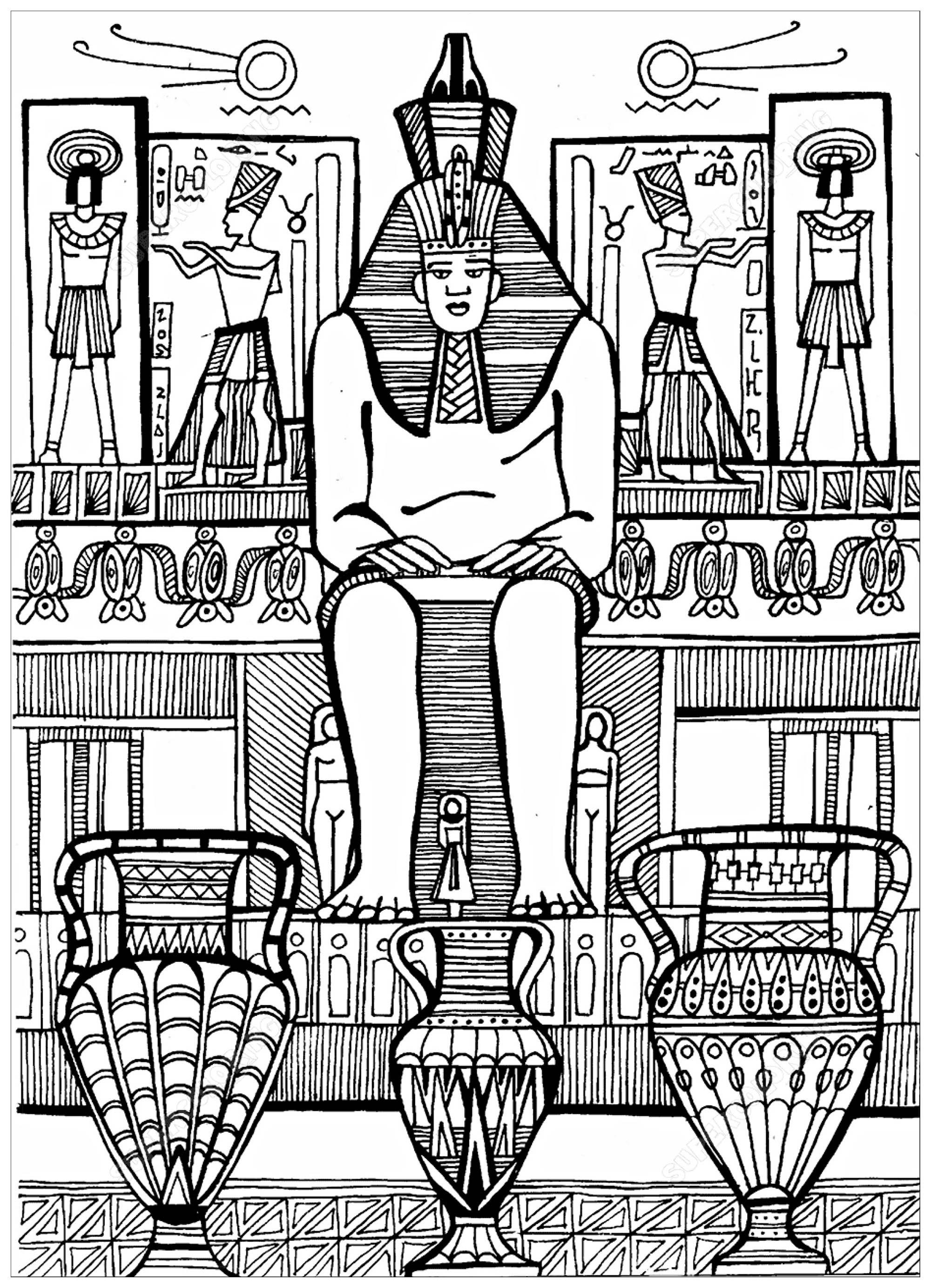 Colorear para adultos  : Egipto y Jeroglíficos - 14