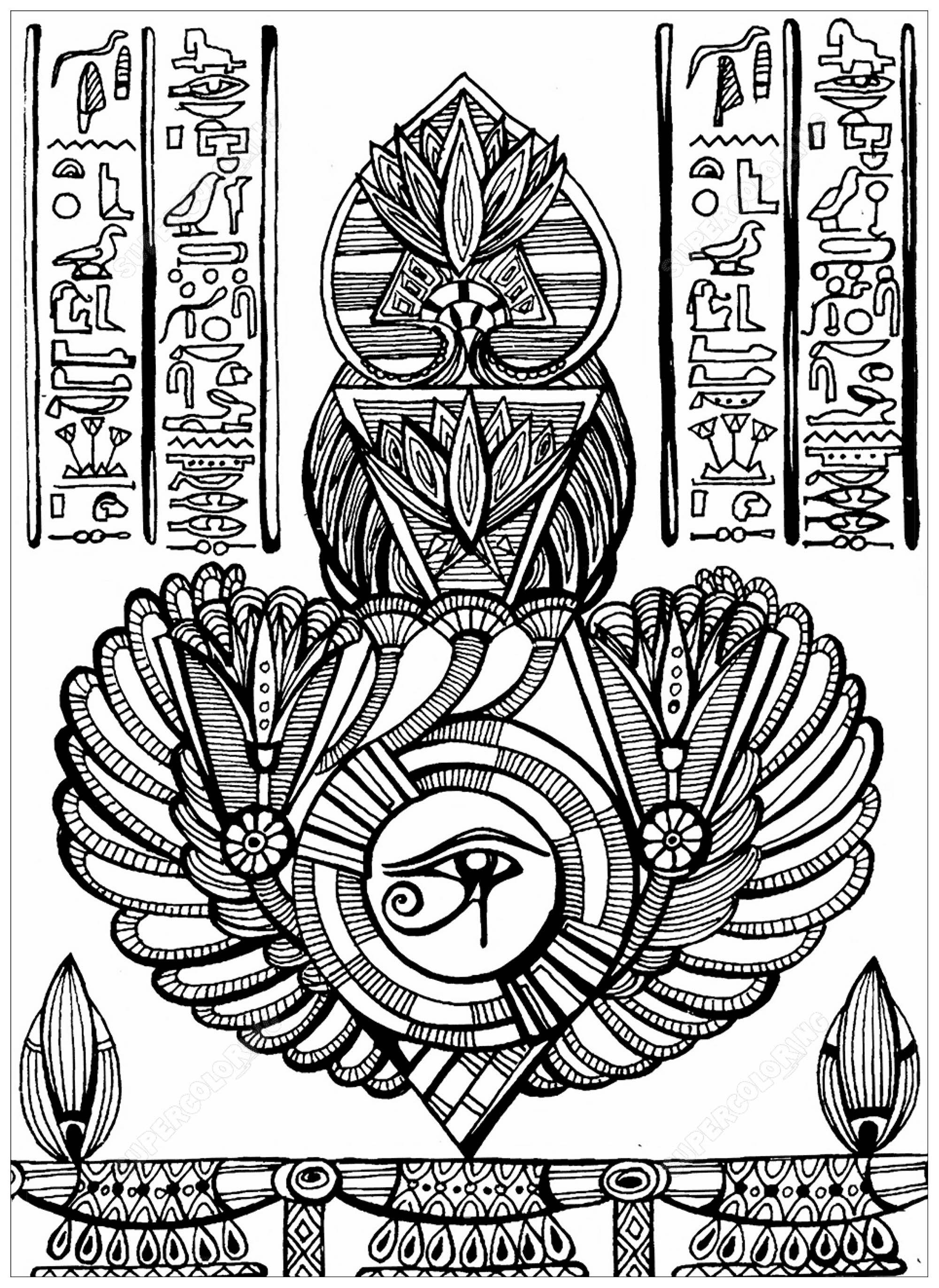 Colorear para adultos  : Egipto y Jeroglíficos - 5
