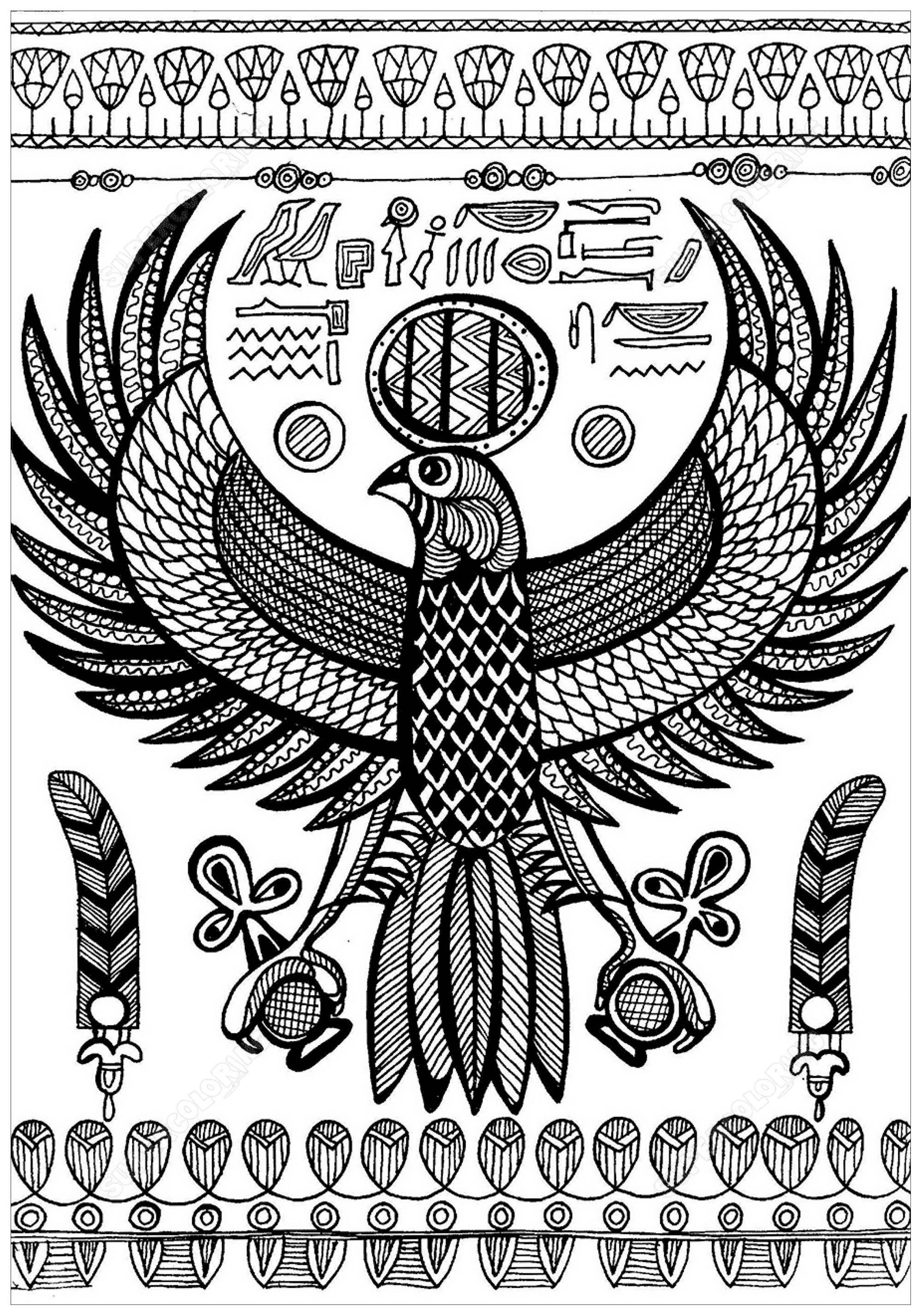 Colorear para adultos  : Egipto y Jeroglíficos - 7