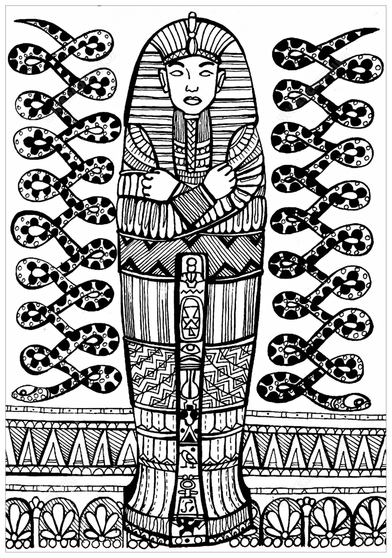 Colorear para adultos  : Egipto y Jeroglíficos - 11