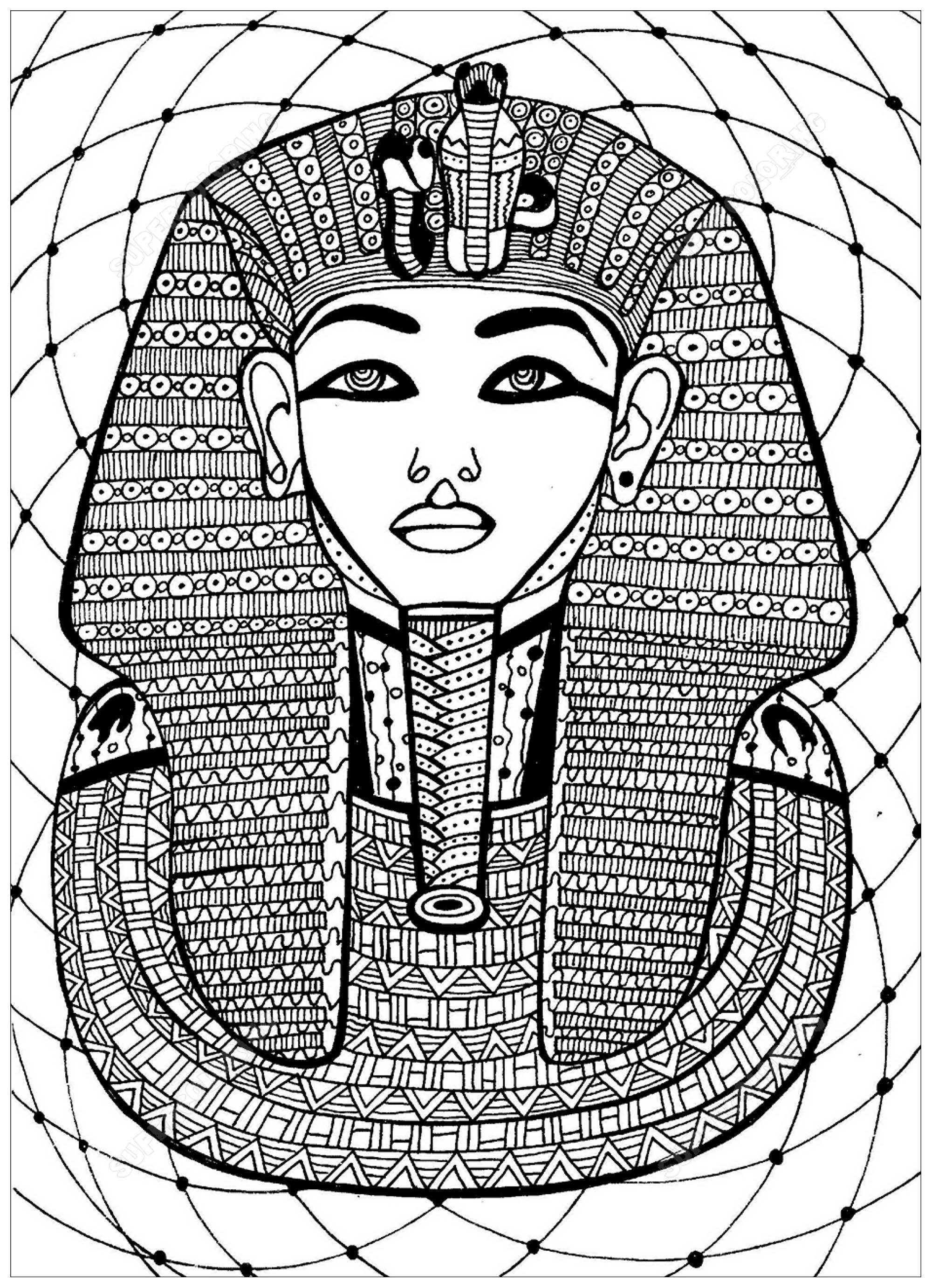 Colorear para adultos  : Egipto y Jeroglíficos - 9
