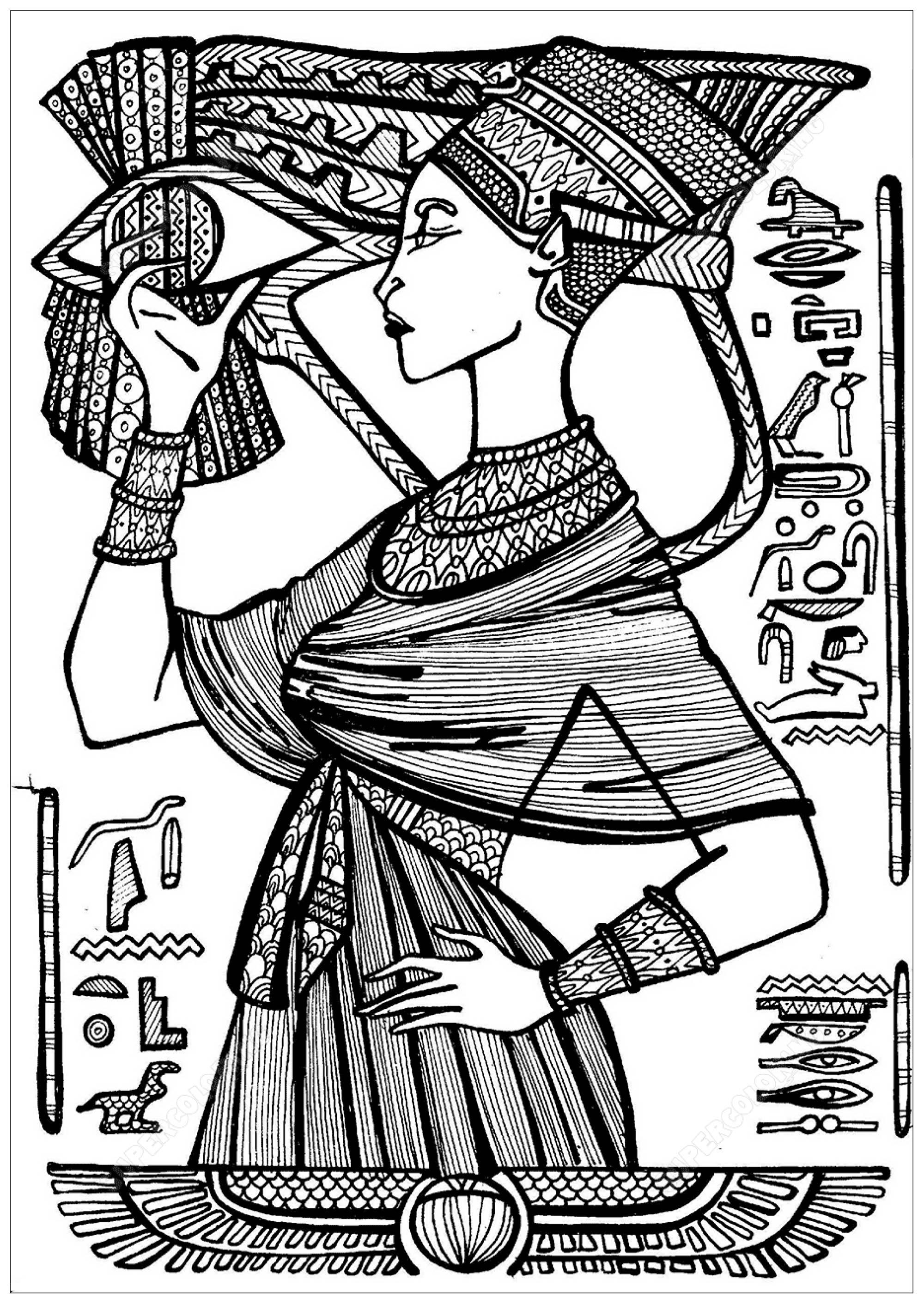 Colorear para adultos  : Egipto y Jeroglíficos - 3