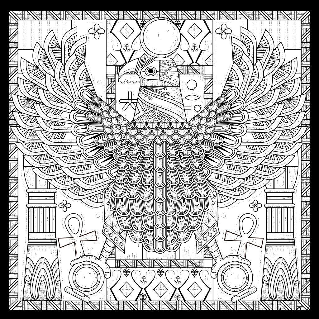 Colorear para adultos : Egipto y Jeroglíficos - 19