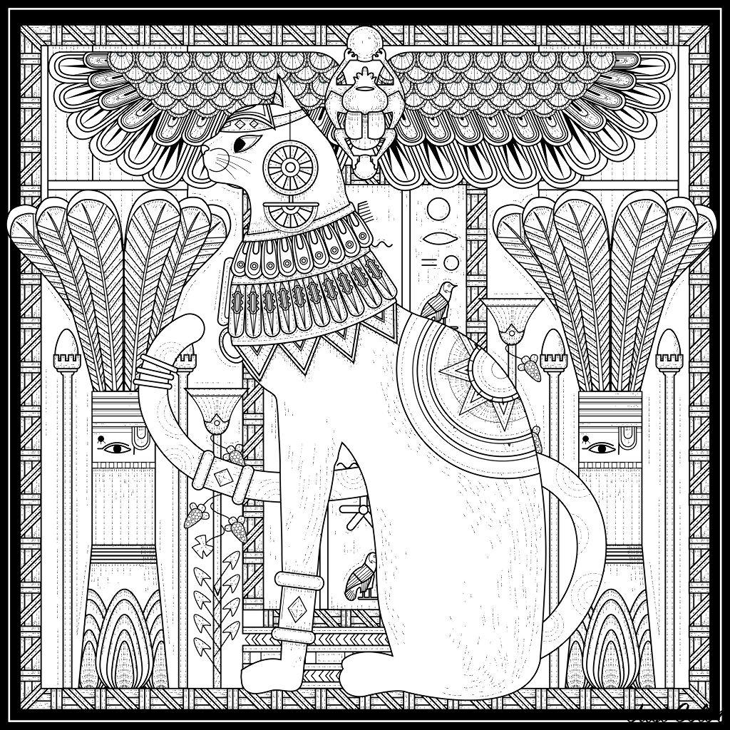 Colorear para adultos : Egipto y Jeroglíficos - 17