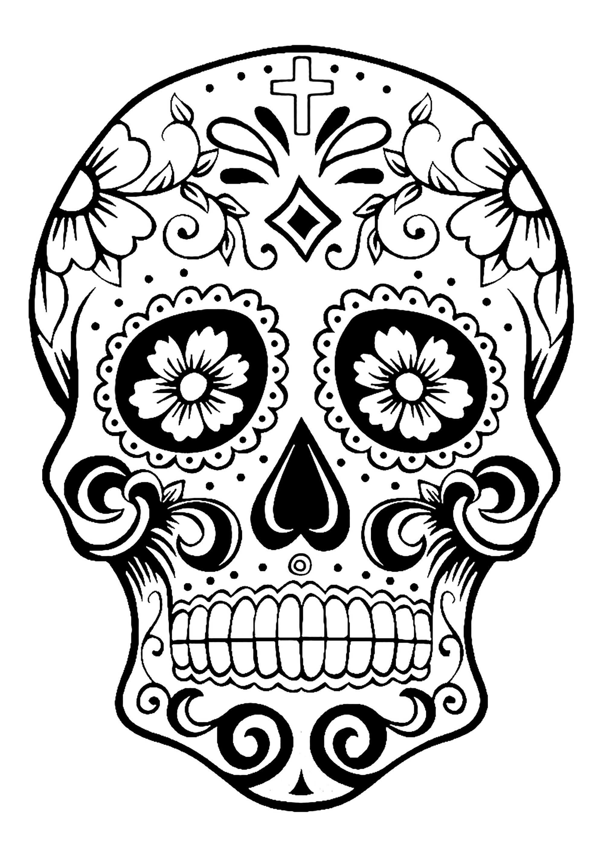 Colorear para adultos  : El Día De Los Muertos - 2