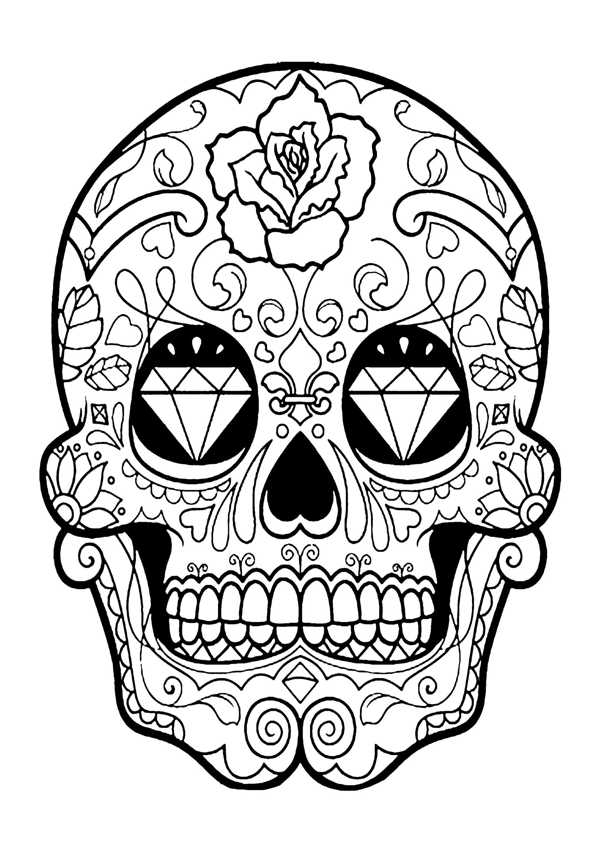 Colorear para adultos  : El Día De Los Muertos - 5