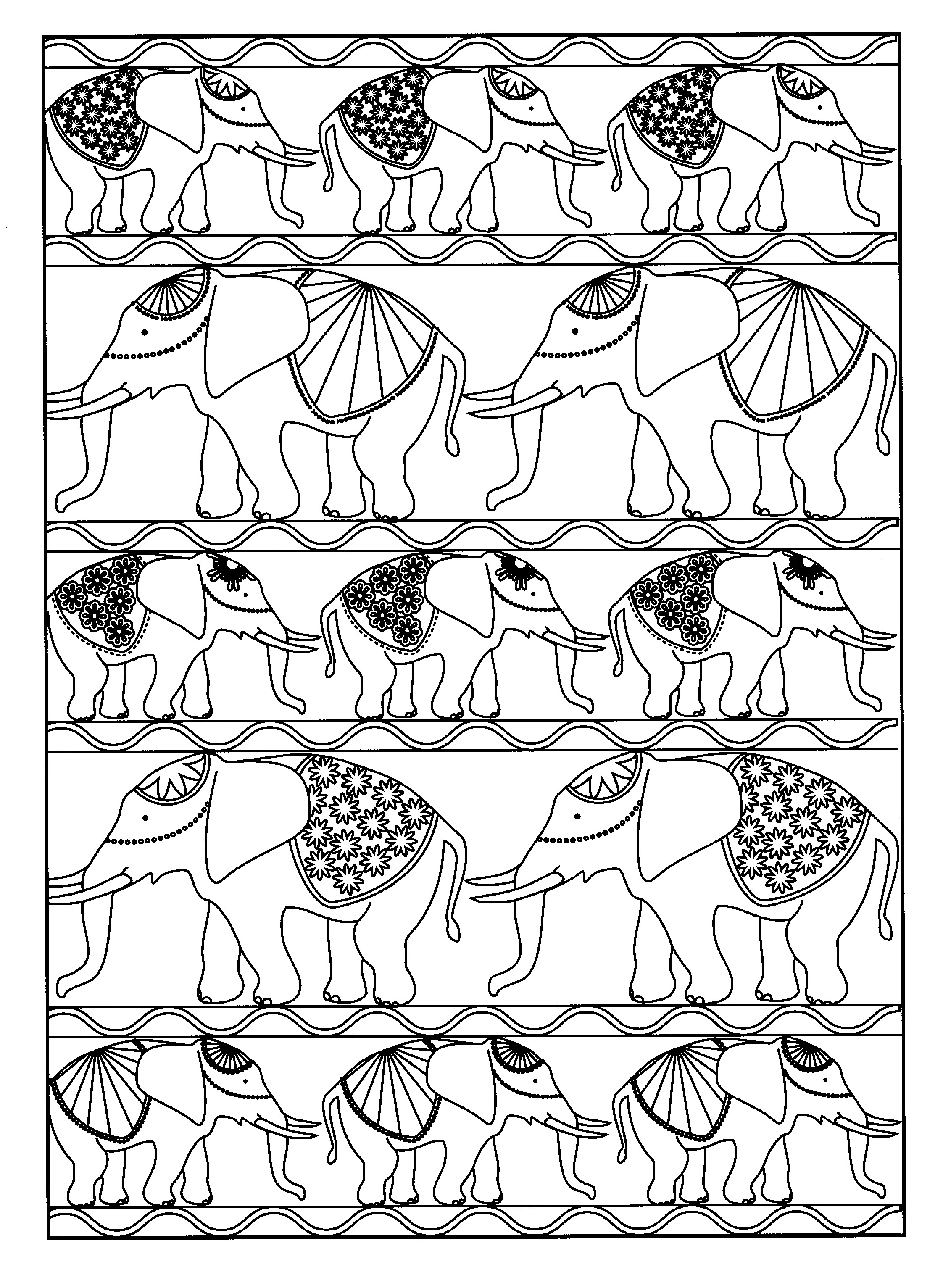 Colorear para adultos  : Elefantes - 6