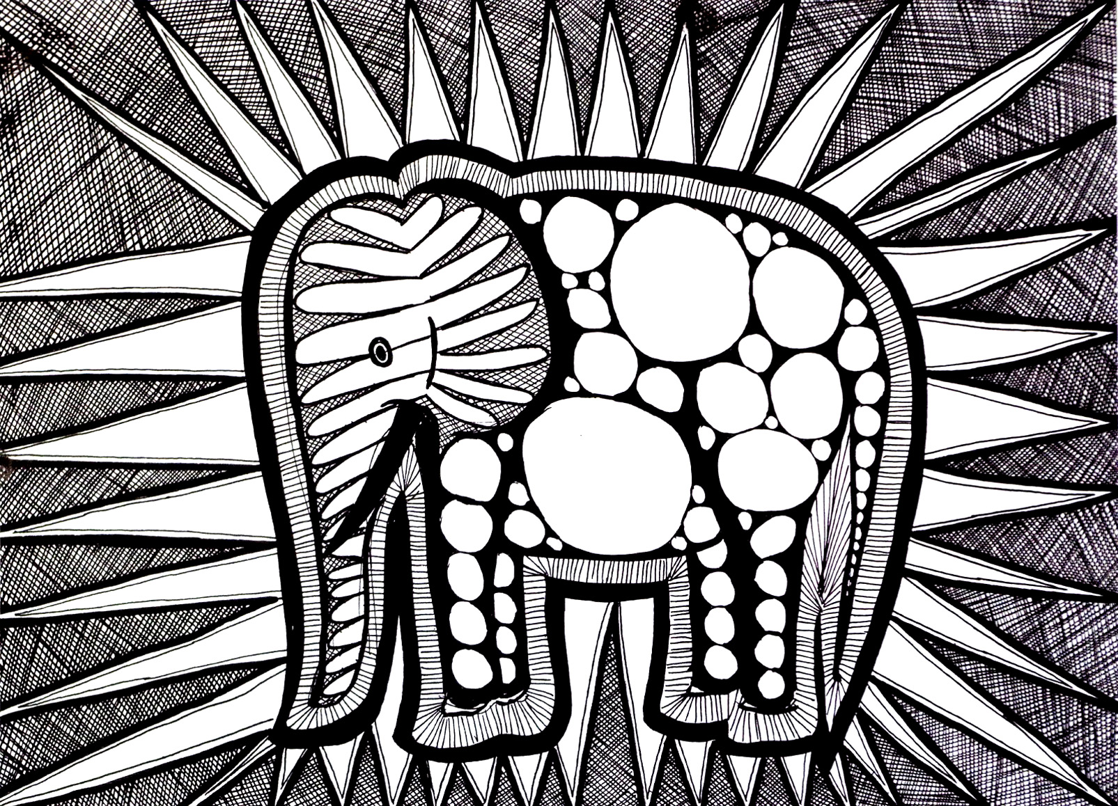 Colorear para adultos  : Elefantes - 5
