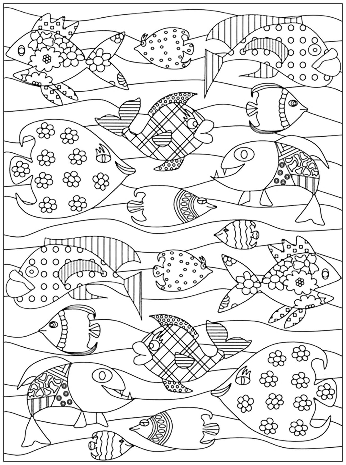 Colorear para adultos  : Peces - 9