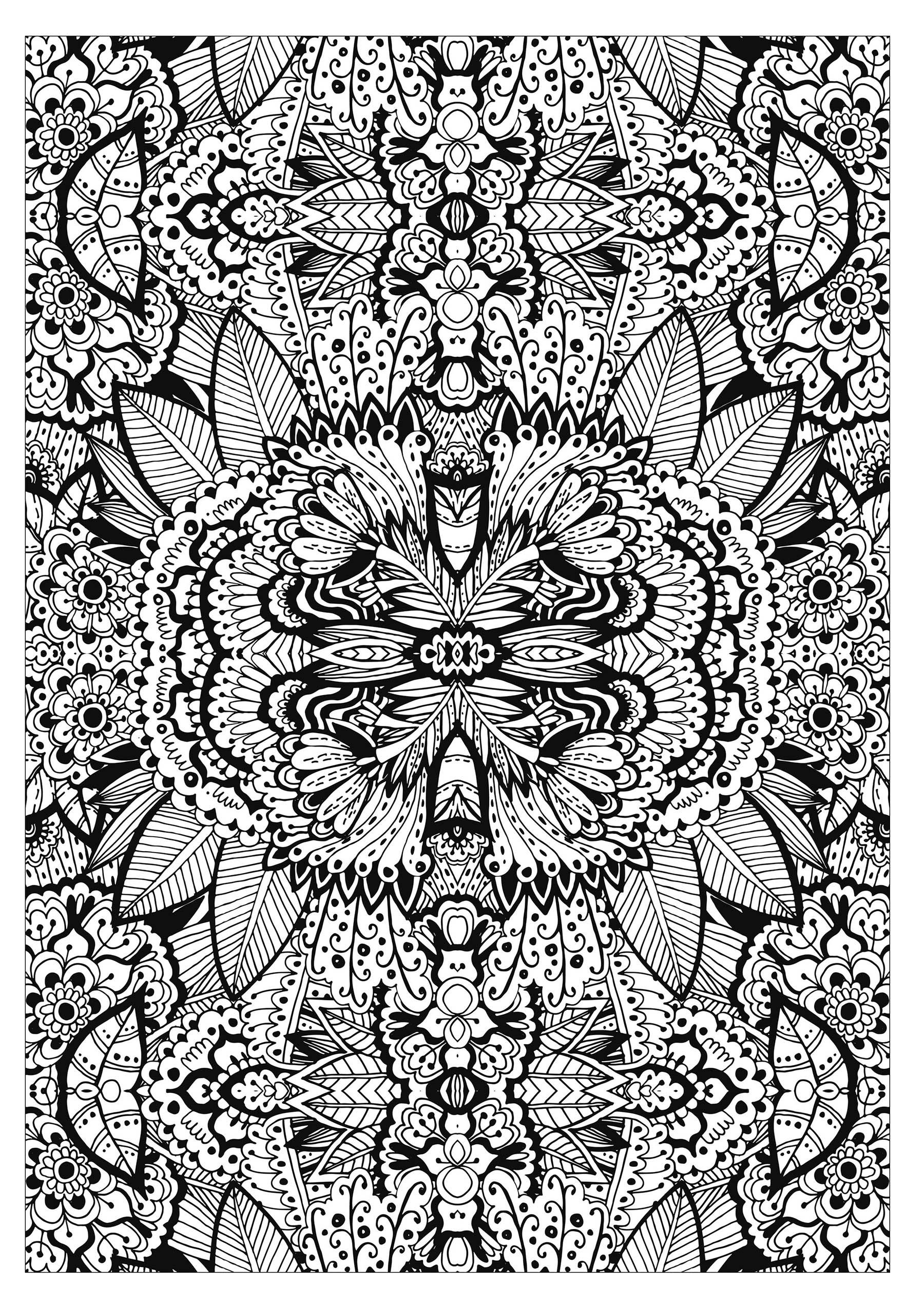 Colorear para adultos : Flores y vegetación - 67
