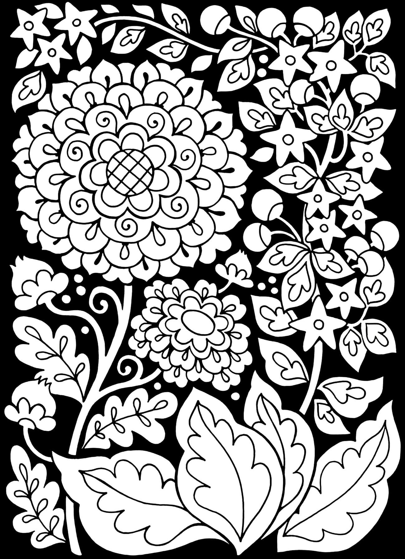Colorear para adultos : Flores y vegetación - 23