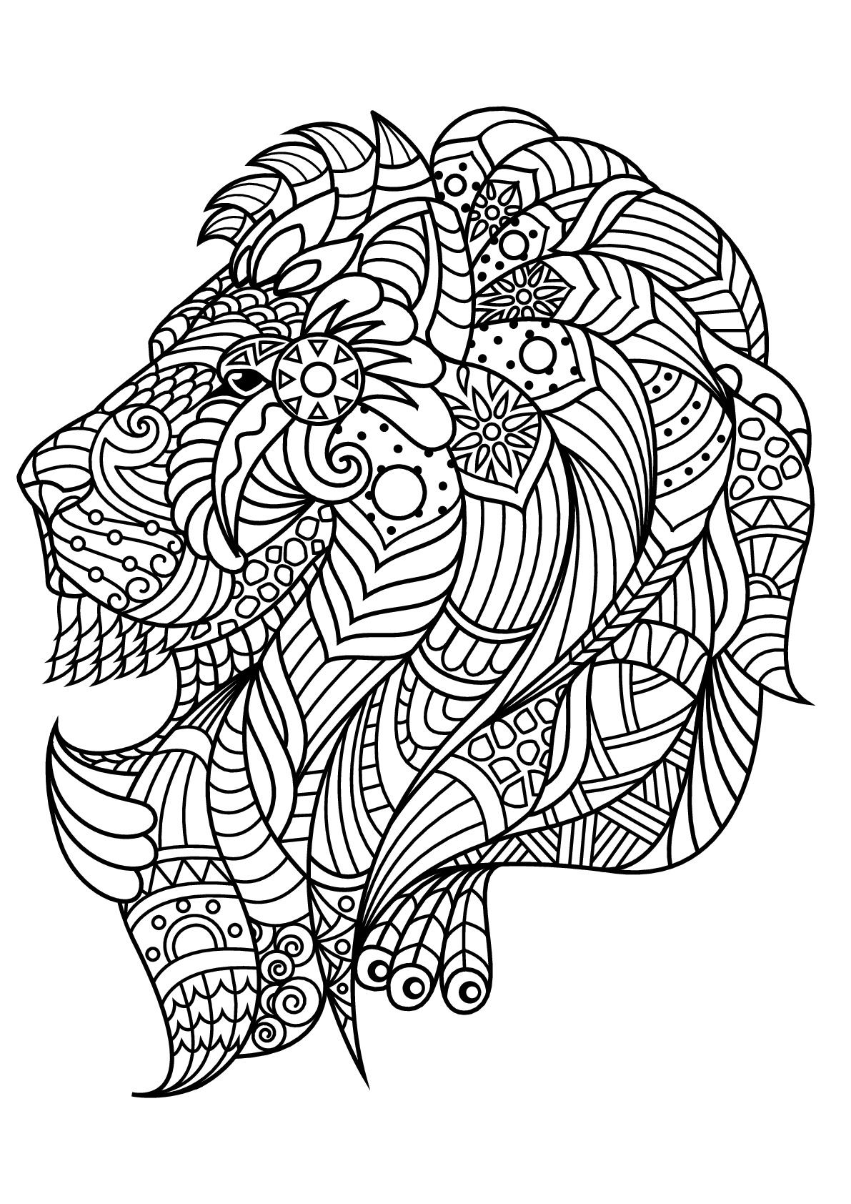 Colorear para adultos  : Leones - 4