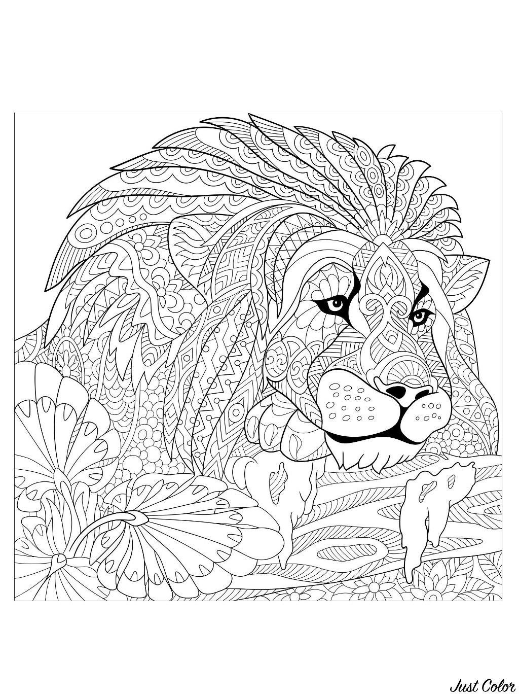 Colorear para adultos  : Leones - 3