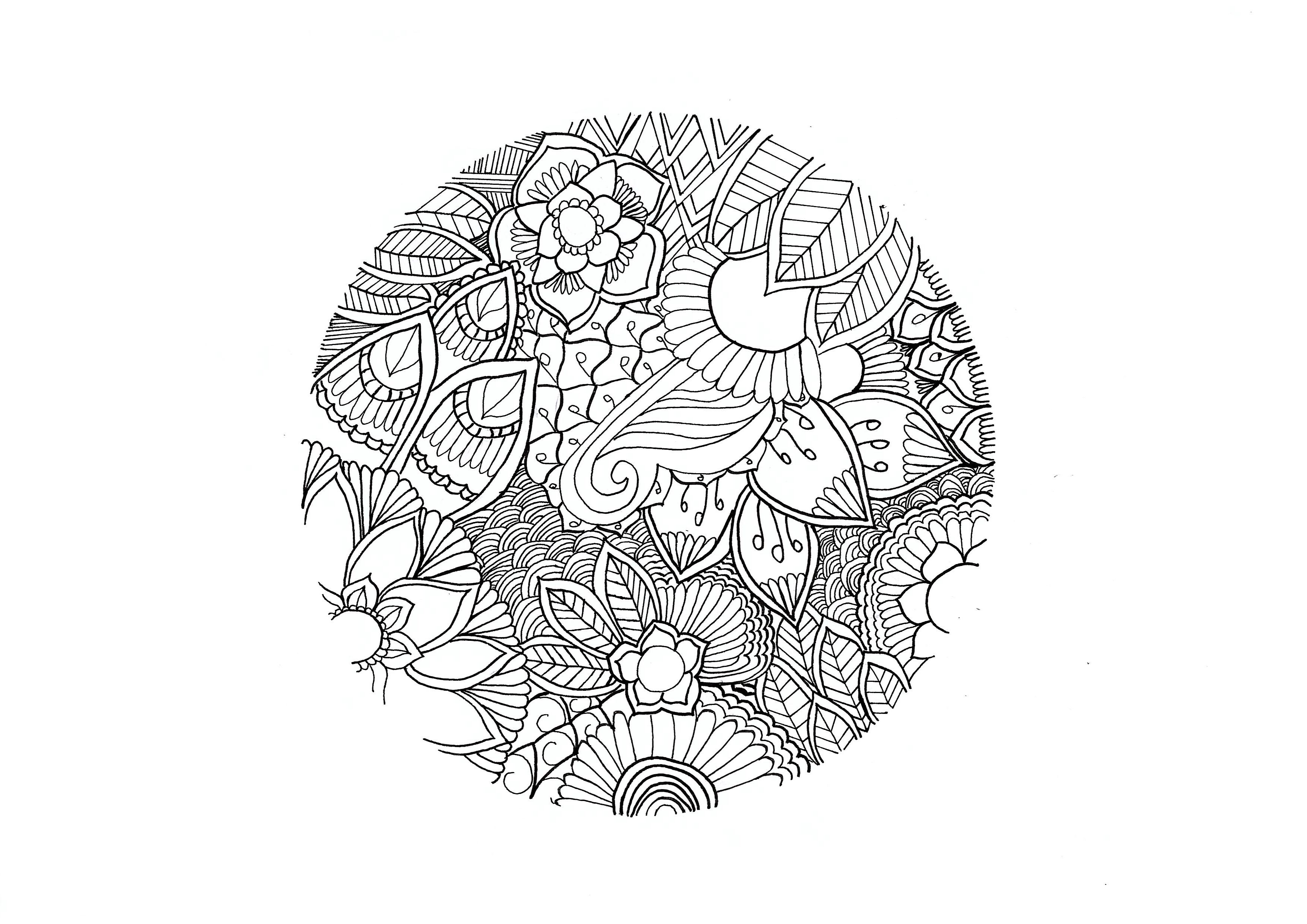 Dibujo De Mandala Meditación Para Colorear: Colorear Para Adultos