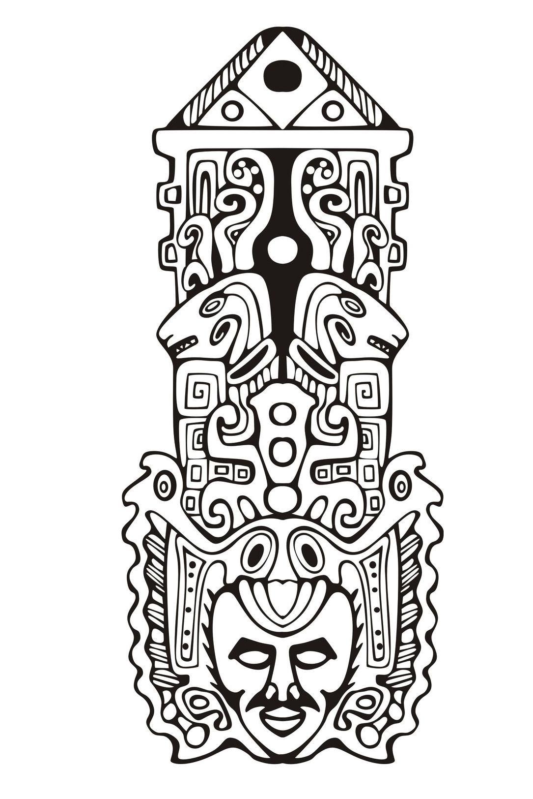 Mayas Aztecas E Incas Colorear Para Adultos