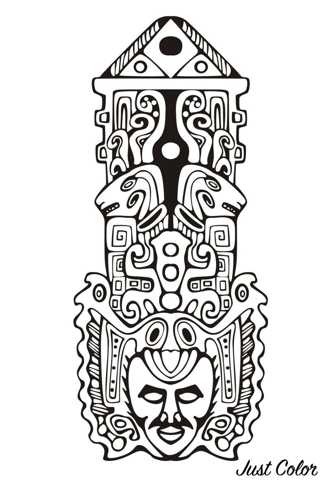 Colorear para adultos : Mayas, Aztecas e Incas - 12
