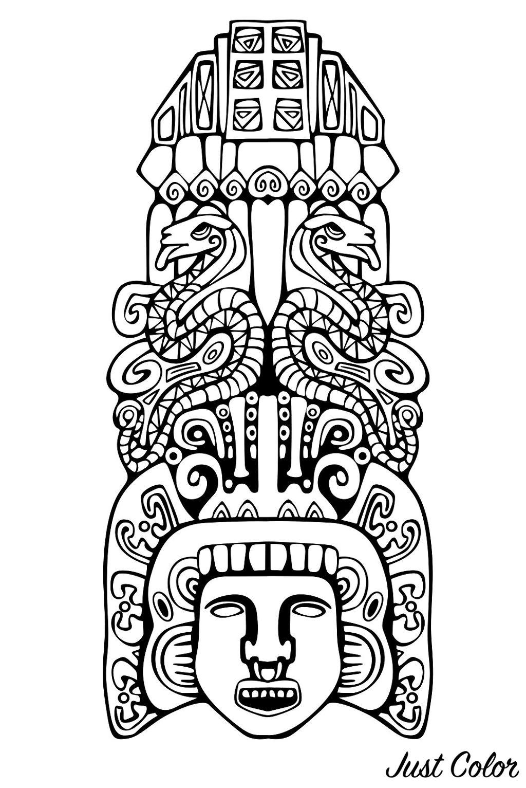 Colorear para adultos : Mayas, Aztecas e Incas - 7