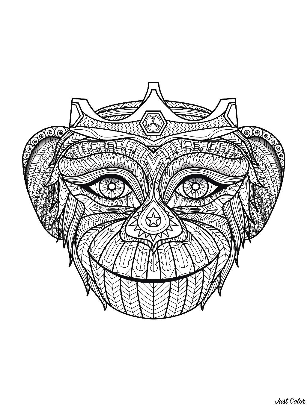 Colorear para adultos  : Monos - 2