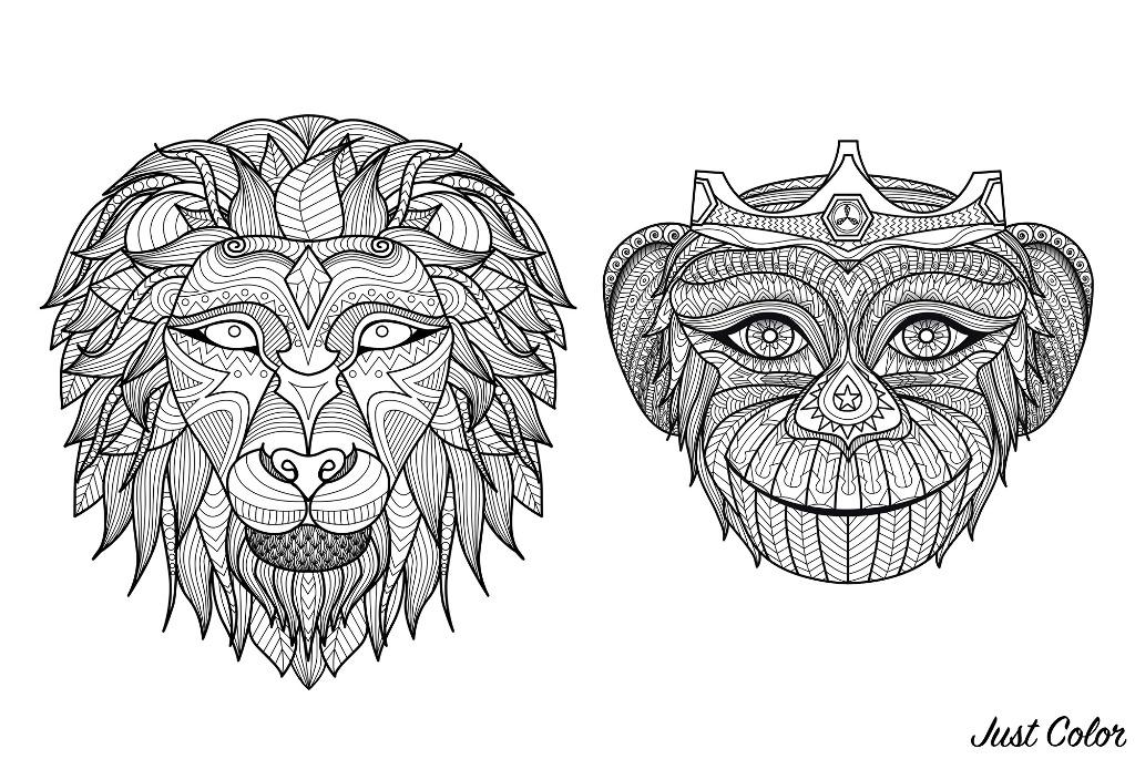 Colorear para adultos  : Monos - 5