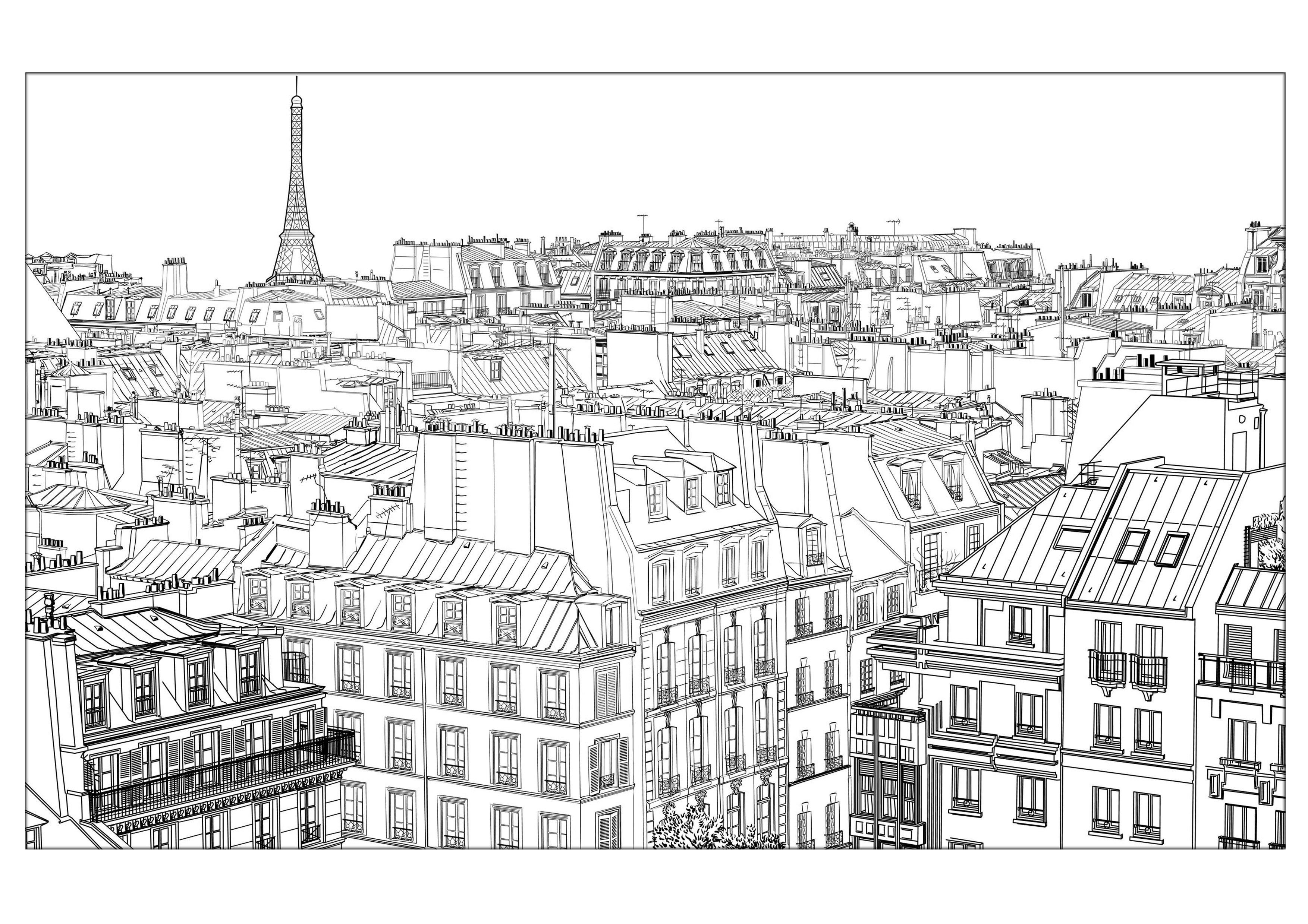Colorear para adultos : Paris - 19