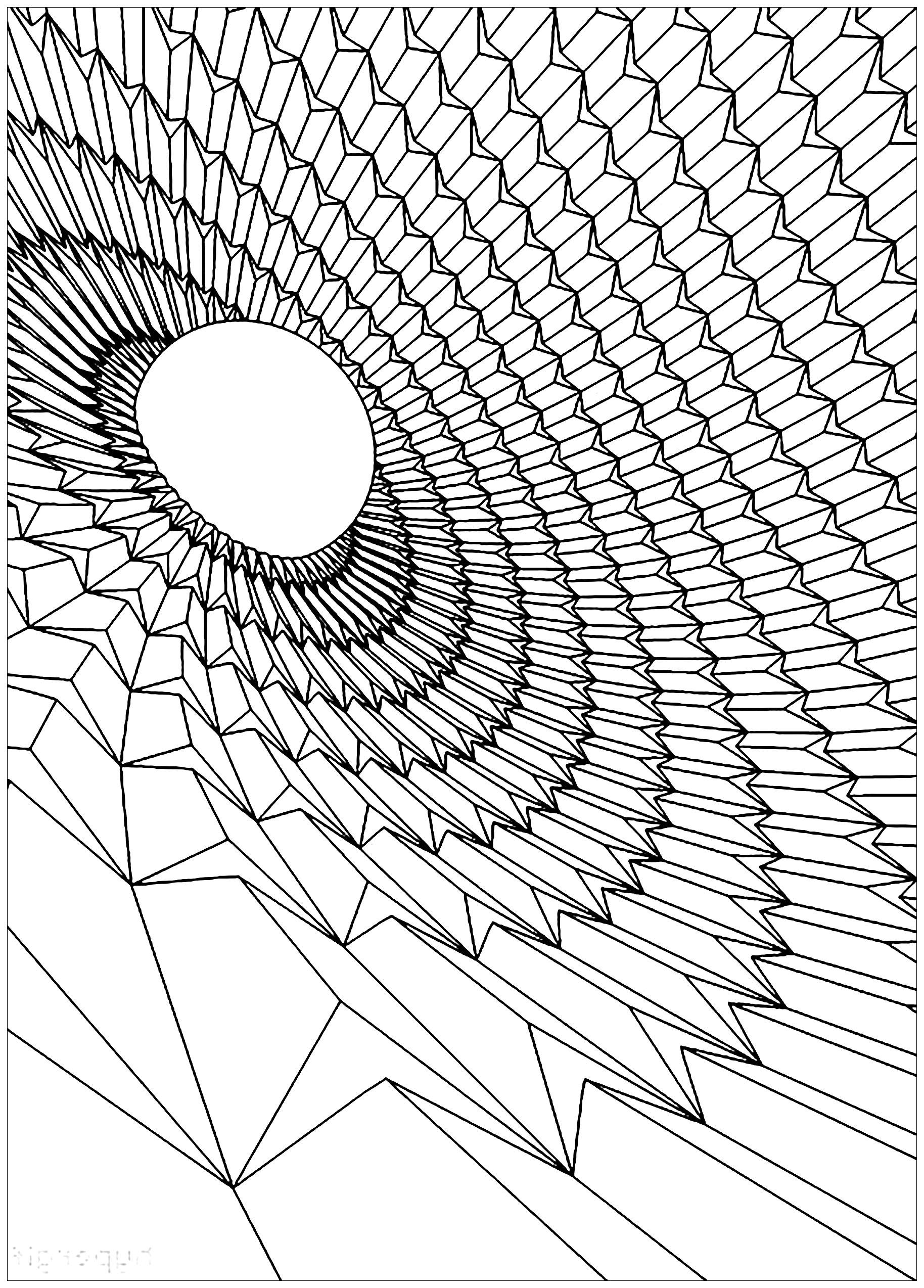 Colorear para adultos : Psychedelic - 26 - Esta imagen contiene : Black hole, Space